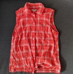 J. Crew Red Plaid Sleeveless Top